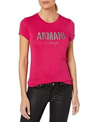 Armani Exchange | Fitted T-shirt With Lrge Fded Logo On Chest - Pink