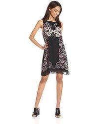 Max Studio - Max Studio Trapeze Dress Placement Print - Lyst