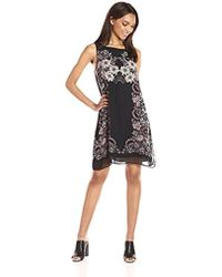 Max Studio - Max Studio Trapeze Dress With Placement Print - Lyst