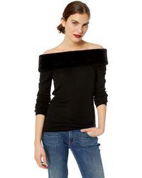 Bailey 44 Royal Flush Faux Fur Sweater - Black