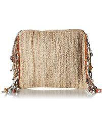 Steve Madden Netty Festival Straw Clutch Crossbody With Sea Shell Wooden, Color Bead Tassels - Natural