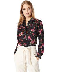 Nanette Lepore Ls Crepe Chiffon Pintuck Frt Shirt - Multicolor