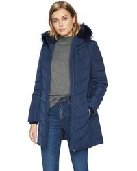 Tommy Hilfiger Mid Length Down Alternative Jacket With Faux Fur Trim Hood - Blue