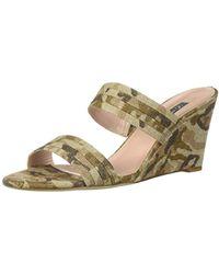 SJP by Sarah Jessica Parker Fleur Double Strap Slide Wedge Heel, Camo Linen, 42 M Eu (11.5 Us) - Multicolor
