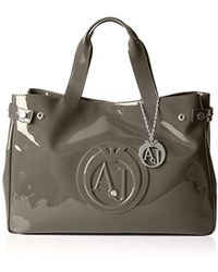 Armani Jeans - Eco Patent Leather East West Logo Tote - Lyst
