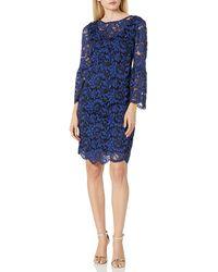 Chetta B Size Bell Sleeve Lace Dress Plus - Blue