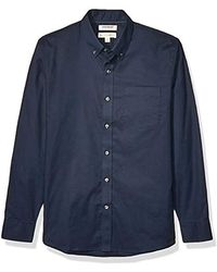 Goodthreads Amazon Brand - Standard-fit Long-sleeve Stretch Oxford Shirt (all Hours) - Blue
