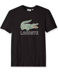 Lacoste T-Shirt mit Logo-Print - Schwarz