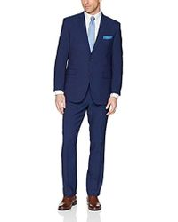 Perry Ellis Two Piece Finished Bottom Slim Fit Suit - Blue