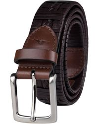 Tommy Bahama Braided Woven Leather Belt - Brown