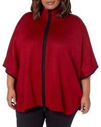 Anne Klein Plus Size Colorblocked Zip Front Cape - Red