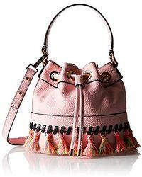 MILLY Whitpstitch Tassel Sm Drawstring Cross-body Bag - Multicolor