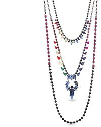 Steve Madden 3 Layer Rainbow Rhinestone Gunmetal-tone Necklace - Multicolor