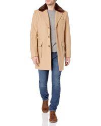 Sean John Textured Wool Coat With Faux-fur Collar - Natural