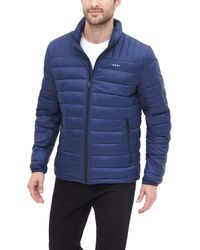 DKNY Water Resistant Ultra Loft Quilted Packable Puffer Jacket - Blue