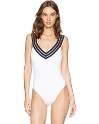Kenneth Cole - Wide Band V-neck Cross Back One Piece Swimsuit - Lyst