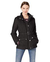London Fog Belted Quilt Jacket - Black