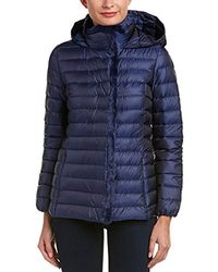Cole Haan Quilted Iridescent Down With Faux Fur Details - Blue
