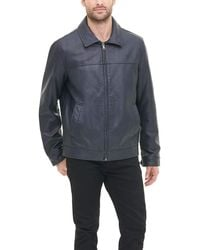 Tommy Hilfiger Classic Faux Leather Laydown Collar Jacket - Blue