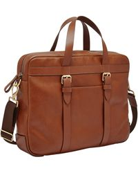 Fossil Haskell Ew Utility Brief Briefcase - Brown