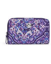 Vera Bradley Iconic Rfid Turnlock Wallet, Signature Cotton - Blue