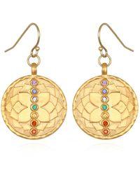 Satya Jewelry Multi Stone Gold Chakra Drop Earrings - Metallic