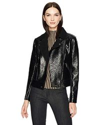 Kenneth Cole Patent Leather Moto Jacket - Black