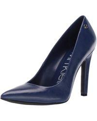 Calvin Klein - Brady Pump, Cobalt Varnished Crackle Leather, 7 - Lyst
