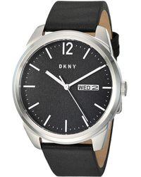DKNY Gansevoort Quartz Leather Three-hand Watch - Black