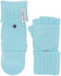 Calvin Klein Knitted Convertible Fingerless Gloves With Mitten Flap Cover - Blue
