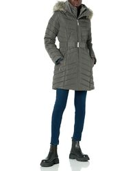 Tommy Hilfiger Belted Faux Fur Trimmed Hooded Puffer - Multicolor