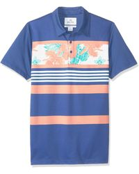 28 Palms Relaxed-fit Performance Cotton Tropical Print Pique Golf Polo - Blue