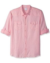 Guess - Long Sleeve Walker Linen Western Shirt With Roll Tab - Lyst
