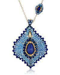 Miguel Ases Lapis Lotus Petal Pendant Necklace - Blue
