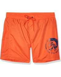 DIESEL Wave 6 Inch Solid Logo Swim Trunk - Orange