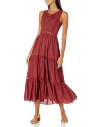 Rebecca Taylor Sleeveless Voile Lace Dress - Red