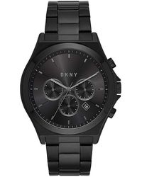 DKNY Chronograph Parsons Black Stainless Steel Bracelet Watch 44mm, Created For Macy's