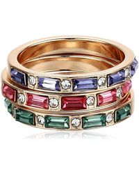 Guess Multi Colored Three Ring Stacker - Metallic