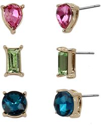 BCBGeneration Rainbow Stone Stud Earrings Set - Multicolor