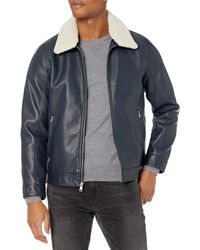 Tommy Hilfiger Classic Faux Leather Jacket With Removable Sherpa Collar - Blue