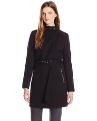 Kenneth Cole Kenneth Cole Oxford Ponte Trench Coat - Black