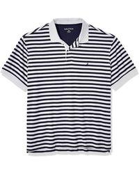 Nautica Tall Classic Fit Short Sleeve 100% Cotton Stripe Soft Polo Shirt - Blue