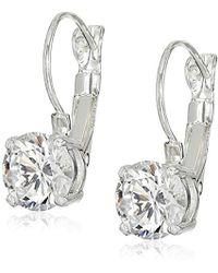"Nine West - ""classics"" Silver-tone Cubic Zirconia Euro Wire Drop Earrings - Lyst"