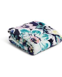 Vera Bradley Womens S Fleece Plush Throw Blanket Garden Grove One Size - Blue