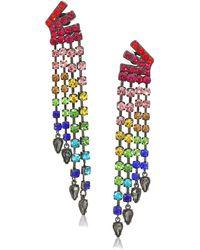 Betsey Johnson (gbg) Stone Fringe Clip-on Earrings - Multicolor