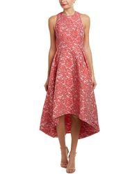 ML Monique Lhuillier Cross Back Rose Jacquard Dress - Pink