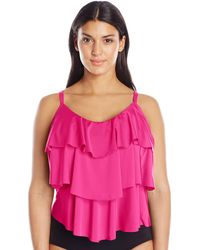 Kenneth Cole Reaction Plus-size Ruffle-licious Ruffle Tiered Tankini - Pink