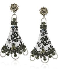 Badgley Mischka Black Lace Drop Earrings