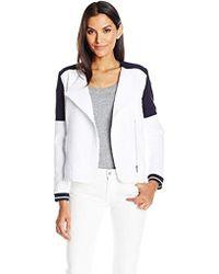 Rafaella - Textured Motorcycle Style Jacket - Lyst