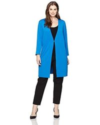 Kasper - Plus Size Ribbed Long Duster With Hardware Detail - Lyst